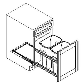 Double Bottom Mount Soft Close Waste Bin