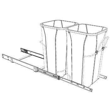 Hafele Bottom Mount Soft Close Double Waste Bin