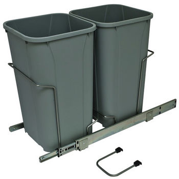 Hafele Bottom Mount Soft Close Double Waste Bin, Frosted Nickel, 2 x 27 Quart (2 x 6.75 Gallon)