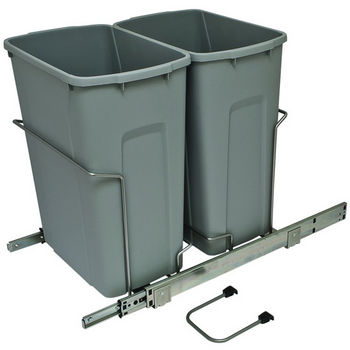 Hafele Bottom Mount Soft Close Double Waste Bin, Frosted Nickel, 2 x 35 Quarts (2 x 8.75 Gallons)