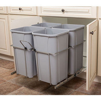 Hafele Bottom Mount Soft Close Four Waste Bin, Frosted Nickel, 4 x 27 Quart (4 x 6.75 Gallon)