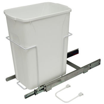 Hafele Bottom Mount Soft Close Single Waste Bin, White, 35 Quart (8.75 Gallon)