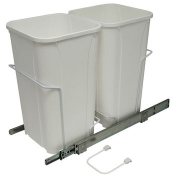 Hafele Bottom Mount Soft Close Double Waste Bin, White, 2 x 27 Quart (2 x 6.75 Gallon)