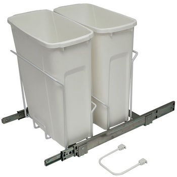 Hafele Bottom Mount Soft Close Double Waste Bin, White, 2 x 20 Quart (2 x 5 Gallon)