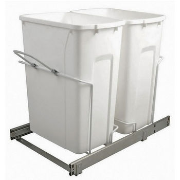 Hafele Bottom Mount Soft Close Double Waste Bin, White, 2 x 35 Quarts (2 x 8.75 Gallons)