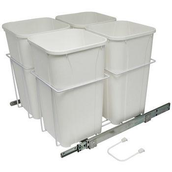 Hafele Bottom Mount Soft Close Four Waste Bin, White, 4 x 27 Quart (4 x 6.75 Gallon)