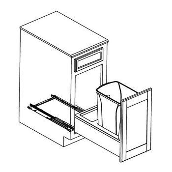 Hafele Bottom Mount Soft Close Single Waste Bin, Birch Frame, White Bin