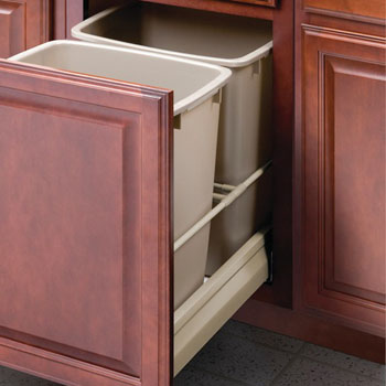 Hafele Double Built-In Bottom Mount Pull-Out MX Trash Cans, Steel, Champagne with Champagne Bin, 2 x 36 Qt (2 x 9 Gal)