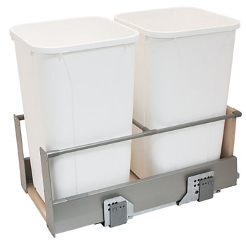 Hafele Double Built-In Bottom Mount Pull-Out MX Trash Cans, Steel, Champagne with White Bins, 2 x 27 Qt (2 x 6.75 Gal)