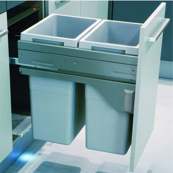 Hafele Euro Cargo 45 Pull-Out Soft Close Double Waste Bin, Silver Gray, 2 x 37 Quarts (2 x 9.25 Gallons)