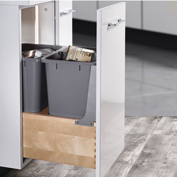 Hafele Built-In Double Pull-Out Bottom Mount Waste Bin with Soft & Silent Grass Elite Slides, Birch Wood Frame with Gray Bins