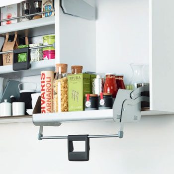 Hafele iMove Pull Down Unit, Single Shelf, Silver/Gray