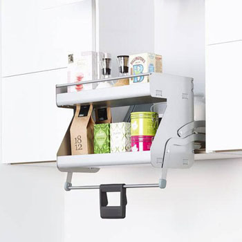 Hafele Imove Pull Down Unit Double Shelf Silver White Faceframe Or Frameless For 21 24 Cabinet Width