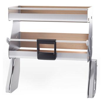 Hafele iMove Pull Down Unit, Double Shelf, Silver/Maple
