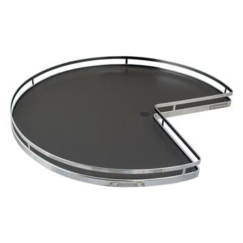 "Hafele 28"" Diameter ""Arena Plus"" 3/4 Round Pie-Cut Shelf Mounted Kidney Lazy Susan (2-Shelf Set), Chrome/Anthracite"
