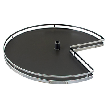 "Hafele 32"" Diameter Revolving Kidney Corner Lazy Susan - 2 Arena Plus Non-Slip Tray Set, Chrome/Anthracite"
