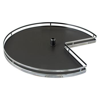 "Hafele 32"" Diameter Revolving Kidney Corner Lazy Susan - 2 Arena Plus Non-Slip Tray Set, Chrome/Anthracite"