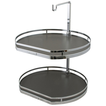 """Hafele 19-3/4"""" Diameter """"Twister"""" Lazy Susan with 2 D-Shaped Shelves, 25-15/16""""- 30 1/2"""" H, Chrome/Anthracite"""