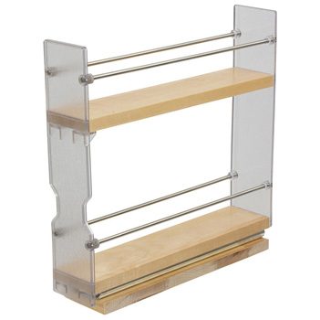 """Hafele Individual Pull-Out Spice Rack, Birch and Stainless Steel, 2-3/8"""" W x 10-3/4"""" D x 10-3/4"""" H"""