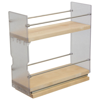 """Hafele Individual Pull-Out Spice Rack, Birch and Stainless Steel, 4"""" W x 10-3/4"""" D x 10-3/4"""" H"""