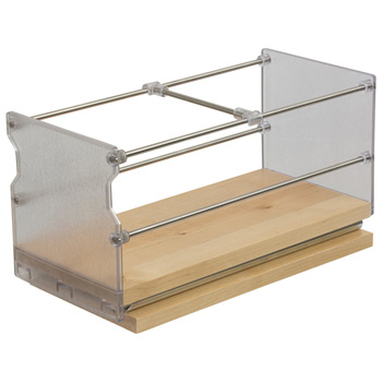 """Hafele Individual Pull-Out Spice Rack, Birch and Stainless Steel, 5"""" W x 5-3/4"""" D x 5-3/4"""" H"""