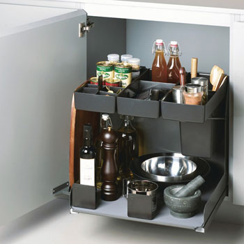 """Hafele Kitchen Tower 600 Base Unit Pull-Out, Silver, Steel/Plastic, for 24"""" Frameless Cabinets"""