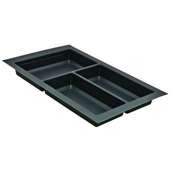 Hafele Sky Cutlery Tray, for 21'' Deep Drawer, Slate Gray, Plastic, Trimmable Width: 10-1/4'' - 11-13/16''