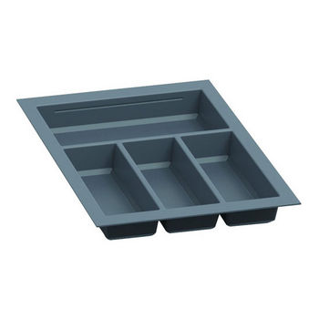 Hafele Sky Cutlery Tray, for 21'' Deep Drawer, Slate Gray, Plastic, Trimmable Width: 12-3/16'' - 13-3/4''