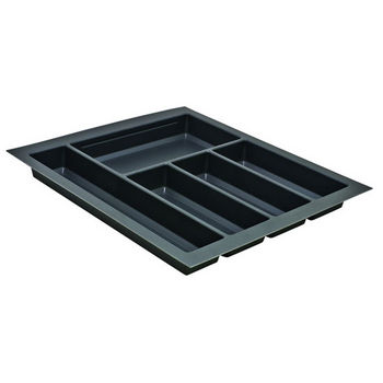 Hafele Sky Cutlery Tray, for 21'' Deep Drawer, Slate Gray, Plastic, Trimmable Width: 16-1/8'' - 17-11/16''