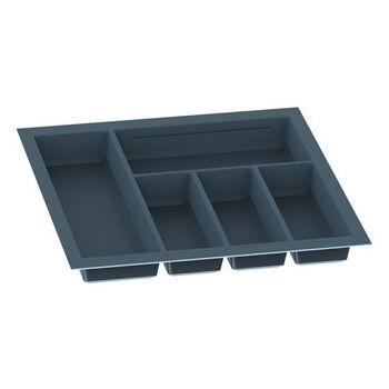 Hafele Sky Cutlery Tray, for 21'' Deep Drawer, Slate Gray, Plastic, Trimmable Width: 18-1/8'' - 19-11/16''