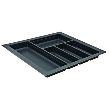 Hafele Sky Cutlery Tray, for 21'' Deep Drawer, Slate Gray, Plastic, Trimmable Width: 20-1/16'' - 22-13/16''