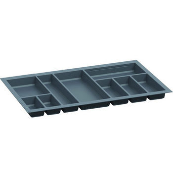 Hafele Sky Cutlery Tray, for 21'' Deep Drawer, Slate Gray, Plastic, Trimmable Width: 31-7/8'' - 33-7/16''