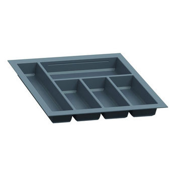 Hafele Sky Cutlery Tray, for 21-11/16'' Deep Drawer, Slate Gray, Plastic, Trimmable Width: 14-3/16'' - 15-3/4''