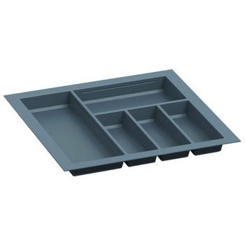 Hafele Sky Cutlery Tray, for 21-11/16'' Deep Drawer, Slate Gray, Plastic, Trimmable Width: 20-1/16'' - 22-13/16''