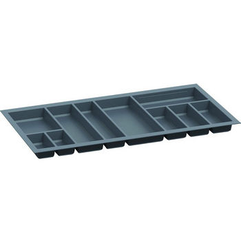 Hafele Sky Cutlery Tray, for 21-11/16'' Deep Drawer, Slate Gray, Plastic, Trimmable Width: 35-13/16'' - 37-3/8''