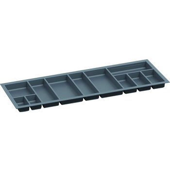Hafele Sky Cutlery Tray, for 21-11/16'' Deep Drawer, Slate Gray, Plastic, Trimmable Width: 43-11/16'' - 45-1/4''