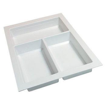 Hafele Sky Cutlery Tray, for 21'' Deep Drawer, Textured White, Plastic, Trimmable Width: 10-1/4'' - 11-13/16''