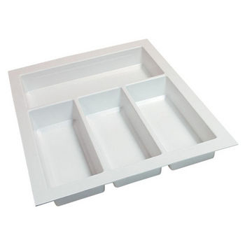 Hafele Sky Cutlery Tray, for 21'' Deep Drawer, Textured White, Plastic, Trimmable Width: 12-3/16'' - 13-3/4''