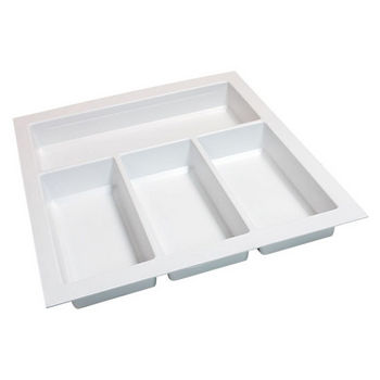 Hafele Sky Cutlery Tray, for 21'' Deep Drawer, Textured White, Plastic, Trimmable Width: 14-3/16'' - 15-3/4''