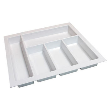Hafele Sky Cutlery Tray, for 21'' Deep Drawer, Textured White, Plastic, Trimmable Width: 16-1/8'' - 17-11/16''