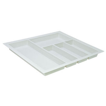 Hafele Sky Cutlery Tray, for 21'' Deep Drawer, Textured White, Plastic, Trimmable Width: 20-1/16'' - 22-13/16''