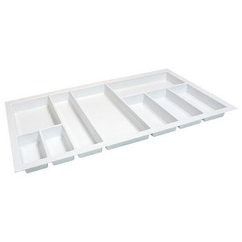 Hafele Sky Cutlery Tray, for 21'' Deep Drawer, Textured White, Plastic, Trimmable Width: 31-7/8'' - 33-7/16''