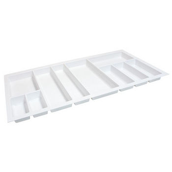 Hafele Sky Cutlery Tray, for 21-11/16'' Deep Drawer, Textured White, Plastic, Trimmable Width: 35-13/16'' - 37-3/8''