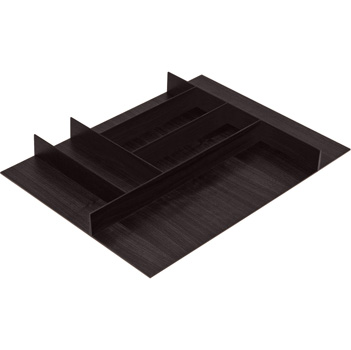 "Hafele ""Fineline"" Small Cutlery Tray, Black Ash, 15-9/16"" W x 20-13/16"" D x 1-15/16"" H, For Cabinet Width 18"" W"