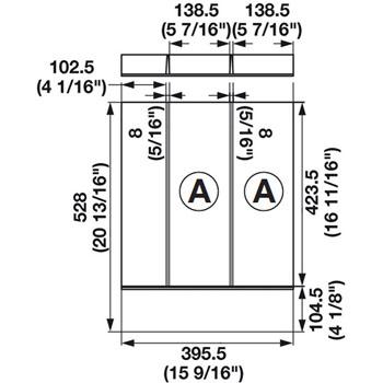 "Hafele ""Fineline"" Multipurpose Cutlery Tray Insert, 15-9/16""W x 20-13/16""D x 1-15/16""H"