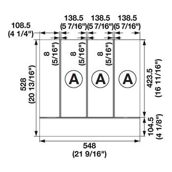 "Hafele ""Fineline"" Multipurpose Cutlery Tray Insert, 21-9/16""W x 20-13/16""D x 1-15/16""H"