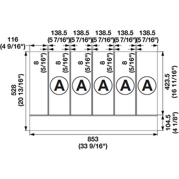 "Hafele ""Fineline"" Multipurpose Cutlery Tray Insert, 33-9/16""W x 20-13/16""D x 1-15/16""H"