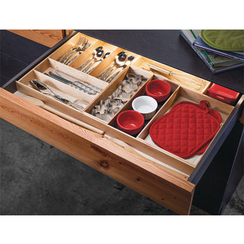 "Hafele ""Fineline"" Move Kitchen Cutlery Box 1, Birch, 4-1/8""W x 11-13/16""D x 1-15/16""H"