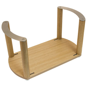 """Hafele """"Fineline"""" Plate Holder, with S/S Handle, White Oak, 13-3/8"""" W x 7-1/16"""" D x 7 1/16"""" H"""