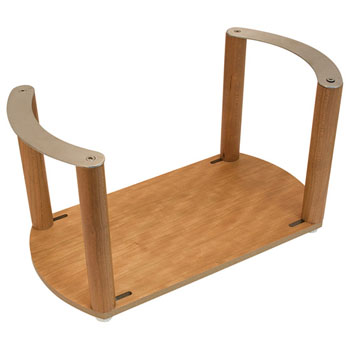 """Hafele """"Fineline"""" Plate Holder, with S/S Handle, Cherry, 13-3/8"""" W x 7-1/16"""" D x 7 1/16"""" H"""